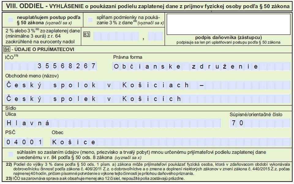 Darujte pro Český spolek 2 %!