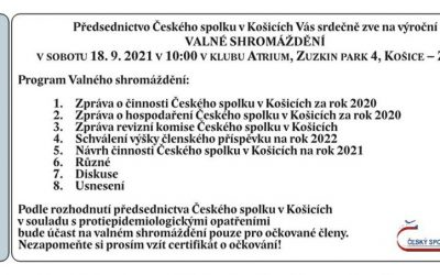 Blíží se Valné shromáždění Českého spolku v Košicích!